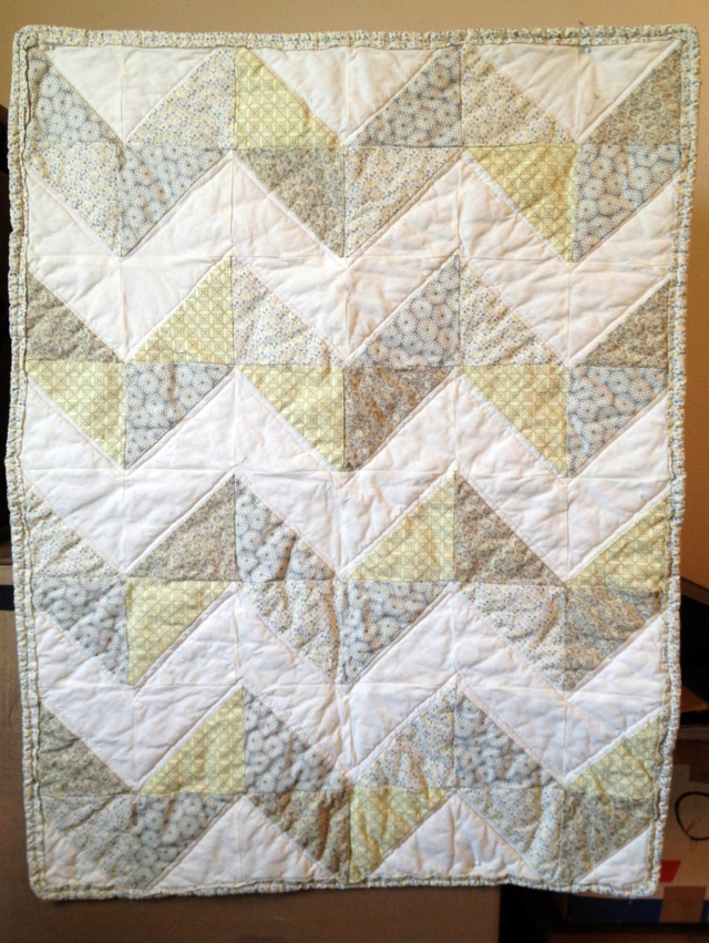 Chevron gray and yellow baby quilt
