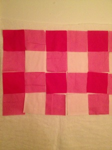pink fabric in gingham pattern